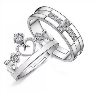 New Valentine's Day silver 925 diamond couple ring